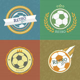 Retro soccer emblems. Four color style collection.illustration Stock Photo