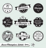 Retro Soccer League Labels and Stickers. Collection of vintage style soccer league labels labels and badges Stock Image