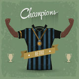 Retro soccer sign champions Stock Photography