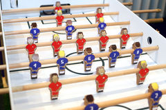 Retro soccer table game players. Selective focus Stock Images