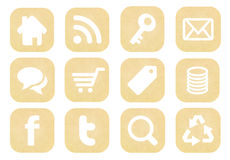 Retro social media icons collection. From old paper royalty free stock images