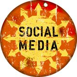 Retro social media sign Royalty Free Stock Photo
