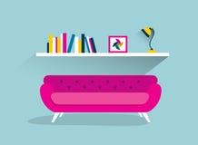 Retro sofa and book shelf with lamp. Stock Photo