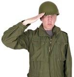 Retro soldato di combattimento, veterano militare dell'esercito, saluto, isolato Fotografia Stock