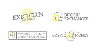 Retro soldi e bitcoin digitale d'annata unico, logos o insegne di cryptocurrency, emblemi, etichette e distintivi ed altro Immagini Stock Libere da Diritti