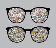 Retro solglasögon med hjälpmedelreflexion i den. Royaltyfri Fotografi