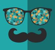 Retro solglasögon med reflexionen för hipster Royaltyfria Bilder
