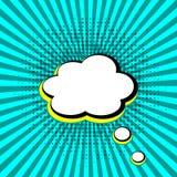 Retro sols str?lar och anf?randebubbla med skugga i form av prickar p? den bl?a popet Art Background, illustration royaltyfri illustrationer