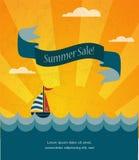 Retro sommarförsäljningsaffisch, infographic illustration royaltyfri illustrationer