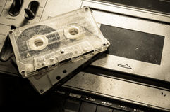 Retro sound player with cassette tape. Royalty Free Stock Photography