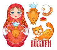 Retro Souvenir from Russia: babushka (matryoshka), red cat, samo Royalty Free Stock Photos