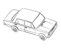 Retro Soviet car. USSR transport vector drawing illustration Royalty Free Stock Photos
