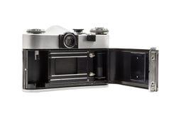 Retro soviet film camera isolated on white background. Soviet reflex camera. Opened back side Stock Photography