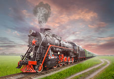 Retro Soviet steam locomotive Royalty Free Stock Photography