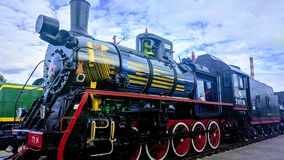Retro soviet union locomotive. In belarussian museum royalty free stock photo