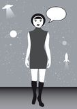 Retro Space. Retro girl with speech bubble on space background Stock Photo