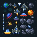 Retro space arcade game pixel elements. Invaders, spaceships, planets and ufo vector set. Video arcade game in pixel art, illustration of spaceship and invader royalty free illustration