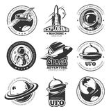 Retro space, astronaut, astronomy, spaceship shuttle vector labels, logos, badges, emblems. Explore mission space, illustration of rocket in space explore Royalty Free Stock Image