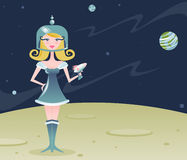 Retro Space Girl. Space girl explores a desolate planet, sporting a sexy retro costume & deadly raygun - stars and planets in the background Stock Photos