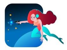 Retro space girl vector cartoon illustration Stock Images