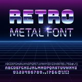 Retro space metal vector font. Metallica futuristic chrome letters and numbers in 80s vintage style. Futuristic vintage alphabet, typeface 80s typography stock illustration