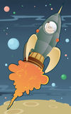 Retro space rocket. Illustration of a space rocket launching into outer space stock illustration