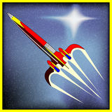 Retro Space Rocket. Background with a comic-book spaceship Stock Photography