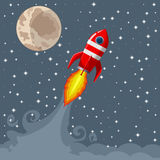 Retro Space Rocket Lifts Off. Star background. moon Stock Photography