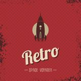 Retro space rocket template theme Stock Images