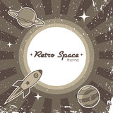 Retro space vector background. Retro space theme background with rocket royalty free illustration