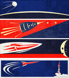 Retro Space Web Banners Stock Photography