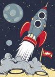 Retro spazio Rocket Lifts Off Fotografie Stock