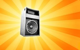 Retro speaker. A retro speaker on a starburst background vector illustration