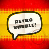 Retro speech bubble on halftone card Royalty Free Stock Image