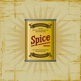 Retro Spice Can. In woodcut style. Decorative  illustration Stock Photography