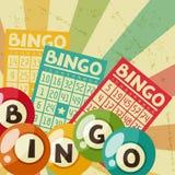 Retro- Spielillustration des Bingo oder der Lotterie lizenzfreie abbildung