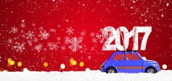Retro- Spielzeugauto mit Weihnachtsgeschenken Lizenzfreie Stockfotos