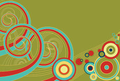 Retro Spirals and Circles. Funky retro background of multi-colored spirals and colors Stock Photo