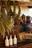 Retro spis i det lantliga köket royaltyfria bilder