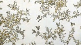 Retro- Spitze-nahtlose Muster-Brown-Gewebe-Hintergrund-Weinlese-mit Blumenart Lizenzfreie Stockfotografie