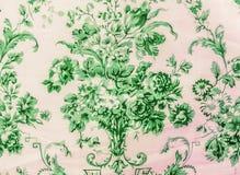 Retro- Spitze-nahtlose Muster-Grün-Gewebe-Hintergrund-Weinlese-mit Blumenart Lizenzfreies Stockfoto