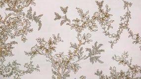 Retro- Spitze-nahtlose Muster Sepia-Brown-Gewebe-Hintergrund-Weinlese-mit Blumenart Lizenzfreies Stockbild