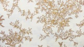 Retro- Spitze-nahtlose Muster Sepia-Brown-Gewebe-Hintergrund-Weinlese-mit Blumenart Lizenzfreies Stockfoto