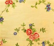 Retro- Spitze-nahtloser Muster-Brown-Gewebe-mit Blumenhintergrund Stockbild