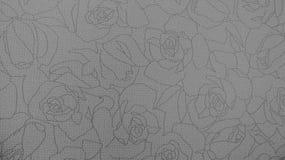 Retro- Spitze-nahtloses mit Blumenmuster-monotoner Schwarzweiss-Gewebe-Hintergrund Lizenzfreies Stockfoto