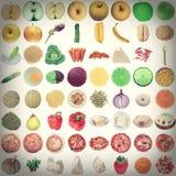 Retro spojrzenia jedzenia kolaż Fotografia Stock