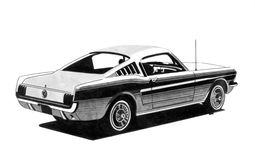 Retro sport car drawing Royalty Free Stock Photos