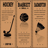 Retro Sport Card. Sports items on kraft paper. Royalty Free Stock Photos