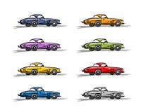 Retro sport cars, sketch for your design Stock Photos
