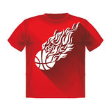 Retro Sport Flame Mascot Vector T-shirt with a basketball Royalty Free Stock Image